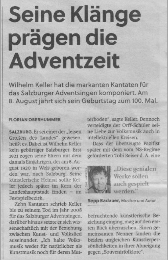 Teil 1 - Artikel Salzburger Nachrichten über Wilhelm Keller © Salzburger Nachrichten/Salzburger HirtenAdvent